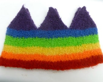 Wool Crown rainbow colored Birthday crown dress up ready to ship