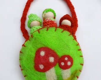 Gnomes in a pouch set wood peg dolls felted pouch Holiday toys ready to ship