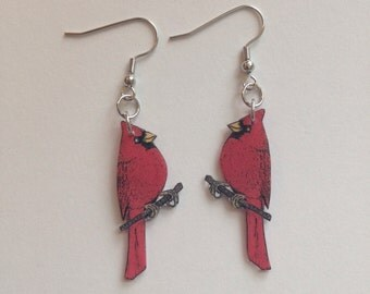 Handcrafted Plastic Red Cardinal Bird Dangle Earrings Made in USA
