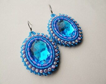 Blue & Purple Beaded Earrings