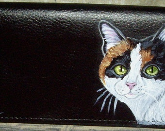 Calico Cat Custom hand Painted Women's Leather Wallet