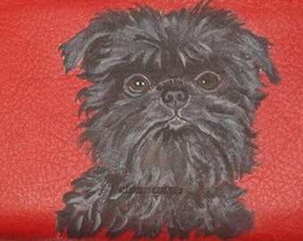 Affenpinscher Dog Custom Painted Ladies Leather Wallet