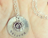beloved - Custom Hand Stamped Nickel Silver Necklace with rose charm