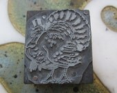 Antique Letterpress Printers Block Thanksgiving Turkey in a Top Hat