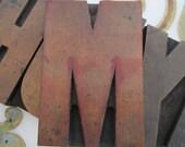 Antique Letterpress Wood Type Printers Block Letter M