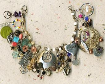 Bracelet of hearts, valentine bracelet, love bracelet, love, bracelet, unique charms,valentine,OOAK charms, vintage hearts, gift for her,