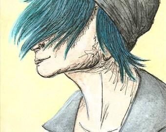 Original Portrait Cool Blue Hair