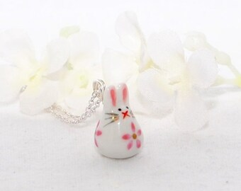 White Rabbit Pendant Necklace Itsy Bitsy Bunny - Bunny Necklace - Kawaii Bunny Rabbit - Rabbit Jewelry