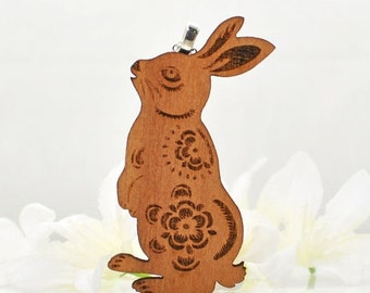 Rabbit Jewelry Bunny Necklace Woody the Woodland Wonderbun - Bunny Pendant - Rabbit Necklace - Bunny Rabbit Jewellery