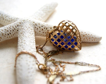 Heart Locket Necklace - vintage brass locket - beach glass necklace - Sea Glass Heart Necklace - Cage Heart Locket - Beach Wedding
