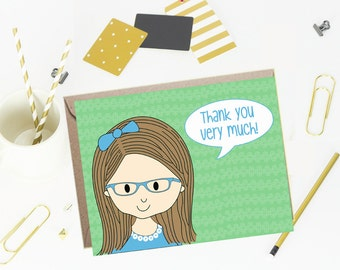 Thank You Note Cards for Kids - Cool Mint- Set of 10