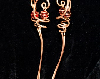 4 Solid Copper and Ruby Red Glass Suncatcher Plant Stakes Handcrafted Metalwork indoor outdoor Home Decor
