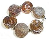 Handmade Glass Lampwork Beads, Amber Luster Beads, Amber Luster Lentils, Iris Gold Lustre Lentils