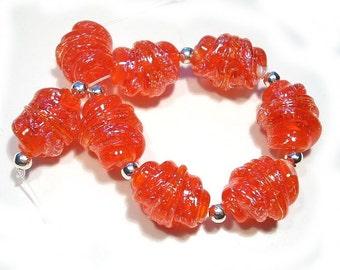 Handmade  Glass Lampwork Beads Dichroic  Whipped Orange Whirled