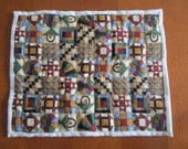 ONE Inch Scale Dollhouse Miniature, Hand Sewn Quilt for a Large Dollhouse Bed