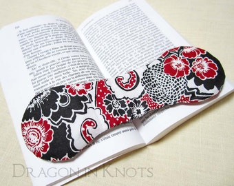 Red, Black and White Book Weight -  Handmade Modern Floral Bookweight page holder, weighted bookmark, desk accessory, reading aid