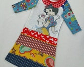 Size 6+ (48 inch height) upcycled girls dress with print snow white