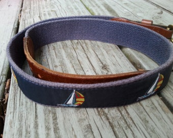 Vintage 80s Preppy Sailboat Belt Size 30