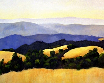 California Landscape Rolling Golden Hills with Oaks Print of Original Oil Painting