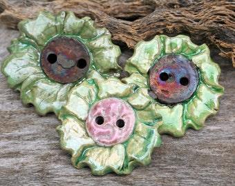 Handmade RAKU Green Button Set of 3