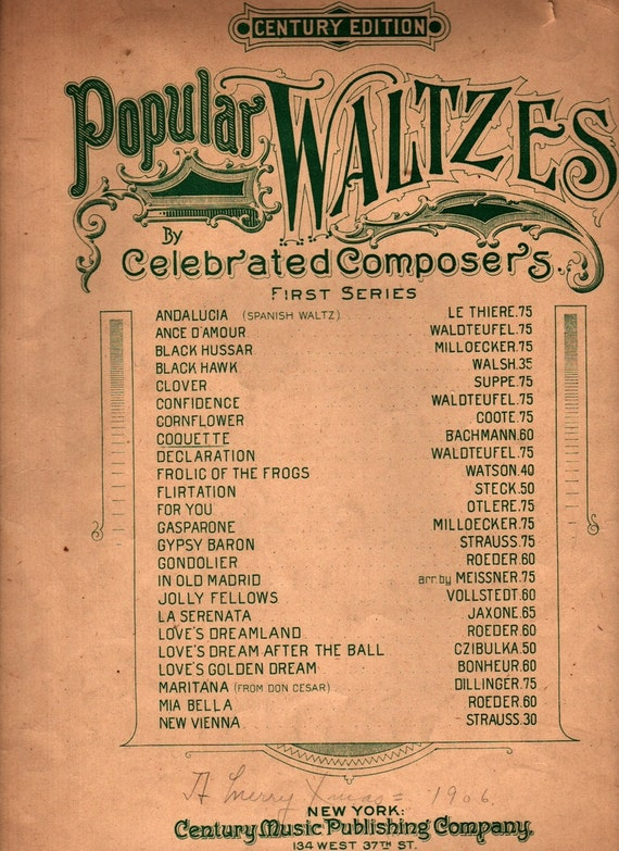Coquette Popular Waltzes by Celebrated Composers First Series - Georges Bachmann - 1902 - Vintage Sheet Music