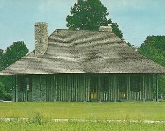 Vintage 1950s Postcard Cahokia Illinois Courthouse State Memorial Building Architecture Government Log Cabin Photochrome Era Postally Unused