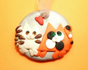 Cats Ornament, Tabby and Calico Cat Door Hanger, Cute Cat Lover Gift, Cats Home Decor, Cats Wedding Bouquet Charm, Handmade Polymer Clay