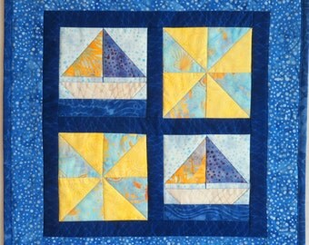 Mini Quilt, Island Batik, 14 ix 14 inch, Wall Hanging, Fathers day gift, sailing, small quilt, home decor.  yellow and blue, pinwheel quilt