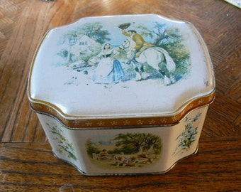 Vintage Horner Tin with  lithographed Victorian Country Scenes