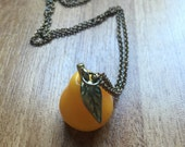 1980s Bright Yellow Pear Necklace