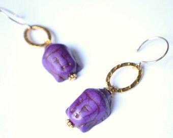 The Buddha- Purple Howlite and Gold Hoop Earrings