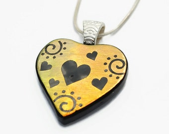 Gold Heart Swirl Pendant, Fused Glass Pendant, Dichroic Glass, Pendant, Etched Glass