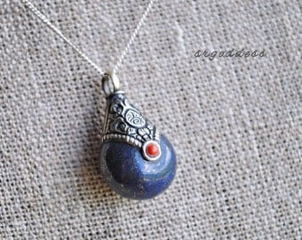 AMULET small lapis lazuli and red copal tibetan style pendant necklace length choice chain choice by srgoddess