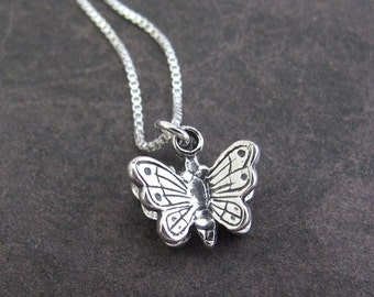 Silver Butterfly Necklace, Sterling Silver Necklace, Butterfly Charm, Sterling Chain, Petite Dainty Pendant, Silver Pendant, 3D Charm