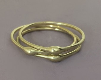 14k Green Gold Stacking Ring - Rain