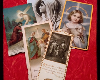 5pcs ANTIQUE PRAYER CARDS Holy Family Virgin Mary Sacred Heart of Jesus Divine Meeting Beautifully Imperfect Lot C