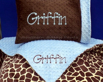 Personalized Toddler Blanket and  Pillow Set - Minky Blanket Size 36x40 - Toddler Boy and Toddler Girl, Perfect for Daycare Naps