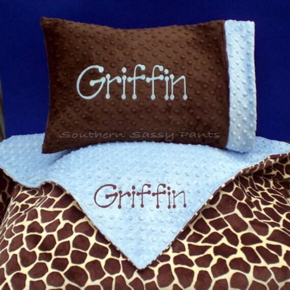 personalized toddler blanket and pillow set minky blanket. Black Bedroom Furniture Sets. Home Design Ideas