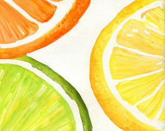 Orange, Lemon, Lime slices Watercolor Painting Original, Fruits watercolor 9 x 12 Original art, watercolor of citrus fruit, lemon