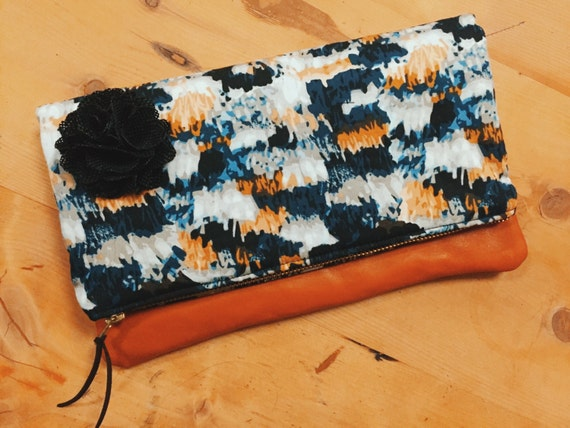 Clutch Purse, Blue Clutch Bag, Leather Fold Over Clutch, Evening Bag, Womens Clutch Bag