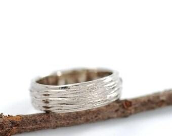 Tree Bark Wedding Ring - 14k Palladium White Gold Wedding Band - 6mm - made to order wedding ring in recycled metal