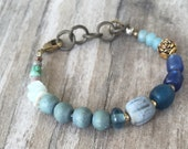 BLUE WATERS Boho BRACELET Element Inspired, one of a kind bracelet with Vintage, Gemstone beads
