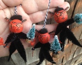 Three Krampus Santas sidekick Christmas devils handmade ornaments