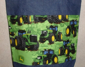 New Large Denim Tote Bag Handmade with John Deere Tractors Green Background #2 Fabric
