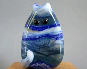 Handmade Lampwork Focal Glass Cat Bead - Gordon FatCat