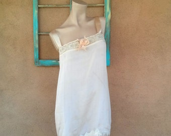 Vintage 1910s Nightie Step In Romper Chemise Gatsby Flapper Large B40