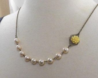Yellow Ivory and Brass Flower Bridesmaids Wedding Necklace