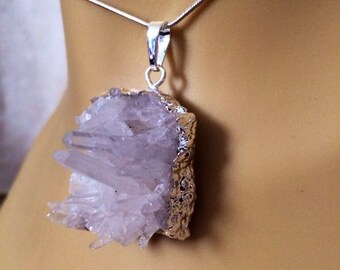 """Quartz Crystal Cluster Sterling Silver Chain Necklace 18"""""""