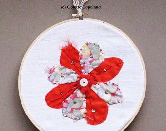 Textile art in wooden embroidery hoop, Red Flowers