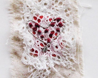 Miniature art quilt, vintage fabric and lace, wire heart, Valentine